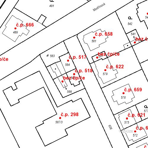 Katastrální mapa Stavební objekt Valtice 518, Valtice