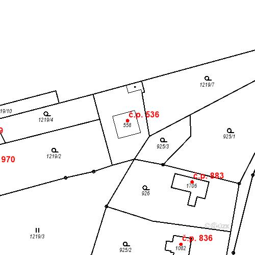 Katastrální mapa Stavební objekt Bílovice nad Svitavou 536, Bílovice nad Svitavou
