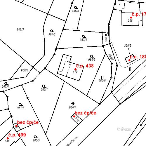 Katastrální mapa Stavební objekt Bílovice nad Svitavou 438, Bílovice nad Svitavou