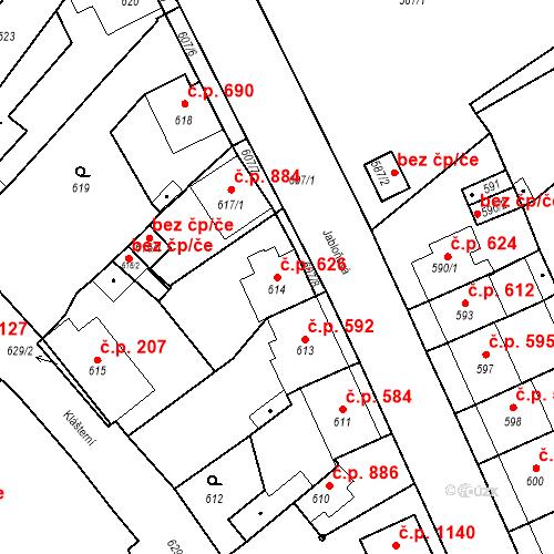 Katastrální mapa Stavební objekt Valtice 626, Valtice