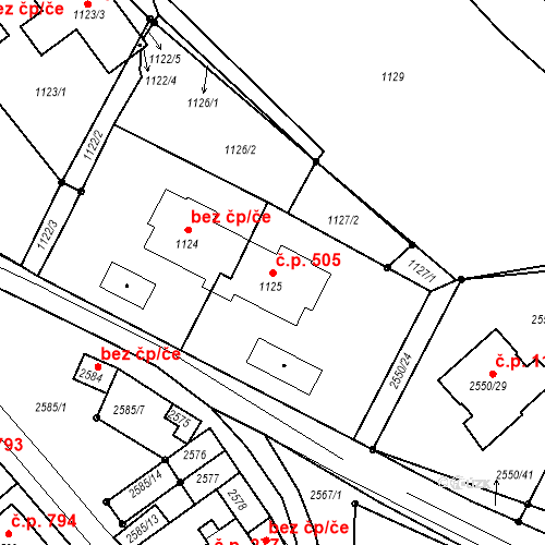 Katastrální mapa Stavební objekt Valtice 505, Valtice