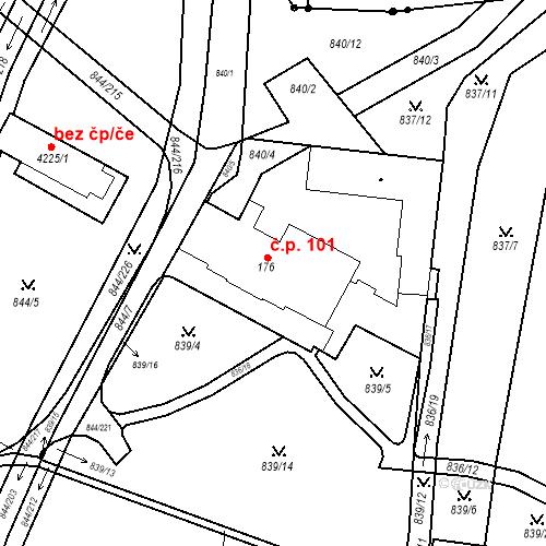 Katastrální mapa Stavební objekt Blansko 101, Blansko
