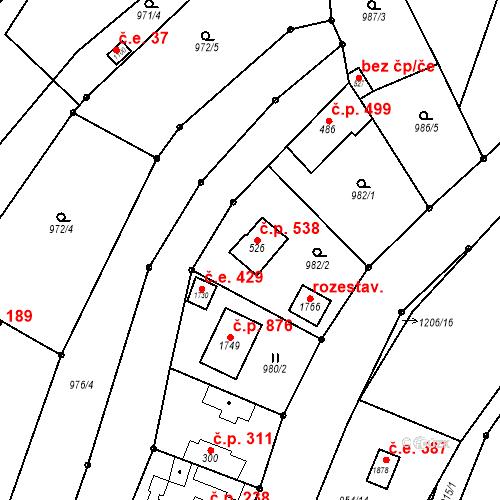 Katastrální mapa Stavební objekt Bílovice nad Svitavou 538, Bílovice nad Svitavou