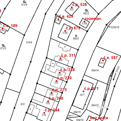 Katastrální mapa Stavební objekt Bílovice nad Svitavou 311, Bílovice nad Svitavou