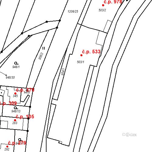 Katastrální mapa Stavební objekt Bílovice nad Svitavou 533, Bílovice nad Svitavou