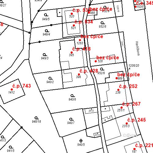 Katastrální mapa Stavební objekt Bílovice nad Svitavou 428, Bílovice nad Svitavou