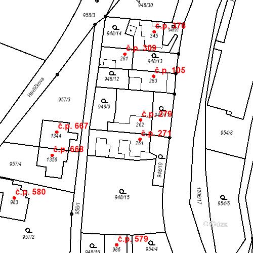 Katastrální mapa Stavební objekt Bílovice nad Svitavou 279, Bílovice nad Svitavou