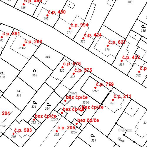 Katastrální mapa Stavební objekt Valtice 575, Valtice