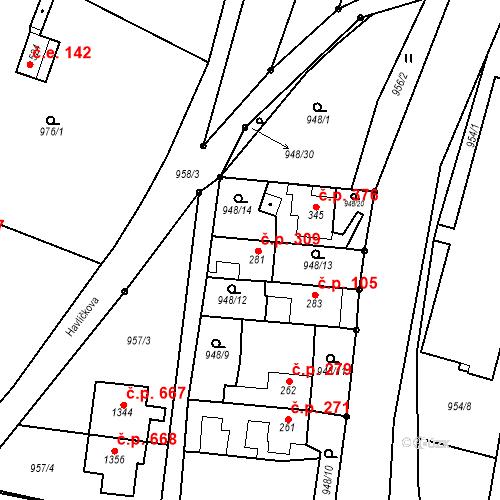 Katastrální mapa Stavební objekt Bílovice nad Svitavou 309, Bílovice nad Svitavou