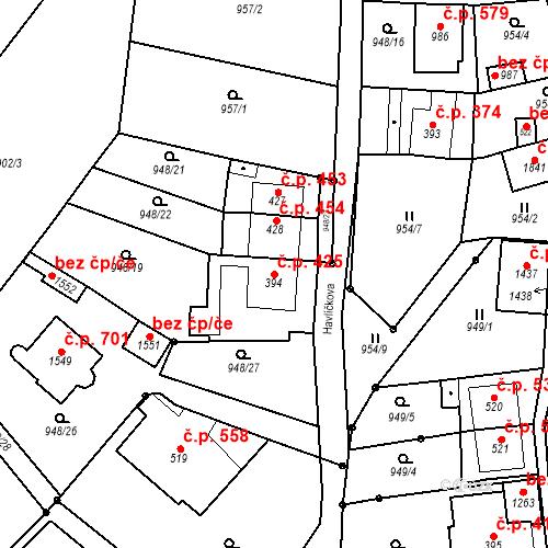 Katastrální mapa Stavební objekt Bílovice nad Svitavou 425, Bílovice nad Svitavou