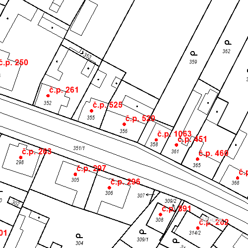 Katastrální mapa Stavební objekt Valtice 520, Valtice