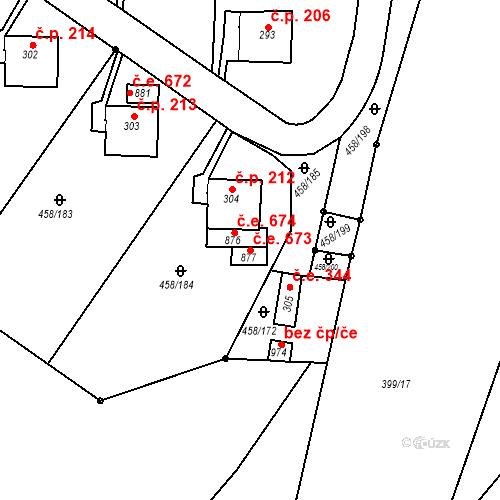 Katastrální mapa Stavební objekt Adamov 673, Adamov