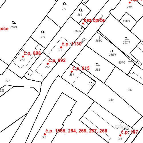 Katastrální mapa Stavební objekt Valtice 615, Valtice