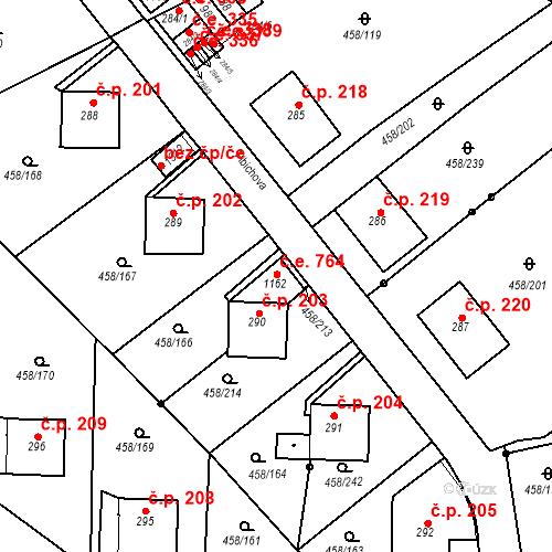 Katastrální mapa Stavební objekt Adamov 764, Adamov