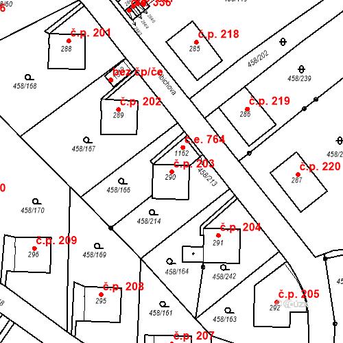 Katastrální mapa Stavební objekt Adamov 203, Adamov