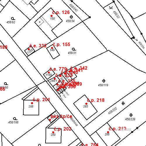 Katastrální mapa Stavební objekt Adamov 342, Adamov