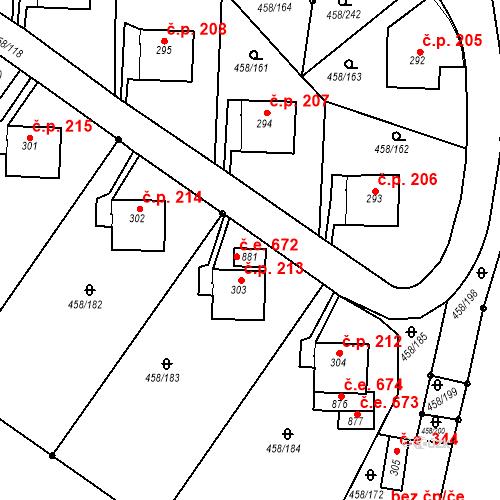 Katastrální mapa Stavební objekt Adamov 672, Adamov