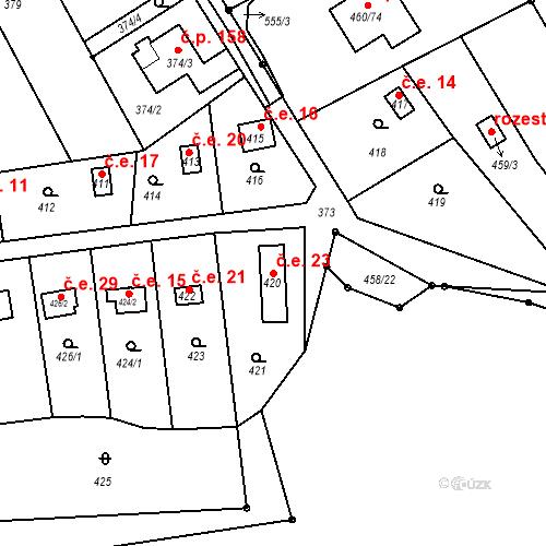 Katastrální mapa Stavební objekt Horní Lhota 23, Blansko