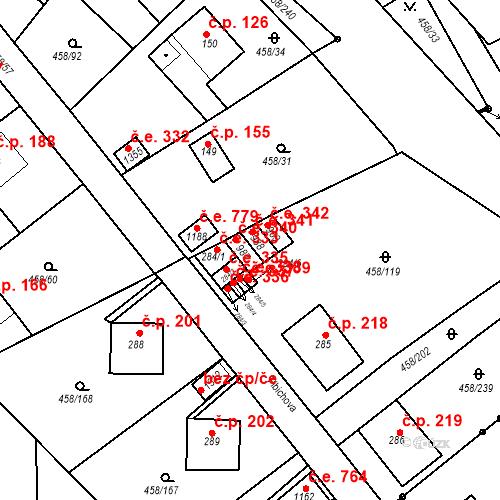Katastrální mapa Stavební objekt Adamov 340, Adamov