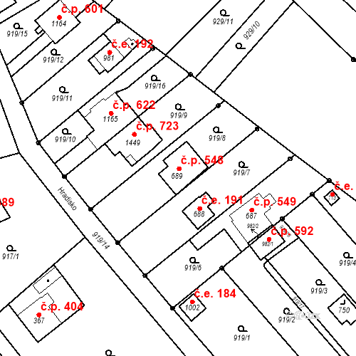 Katastrální mapa Stavební objekt Bílovice nad Svitavou 548, Bílovice nad Svitavou
