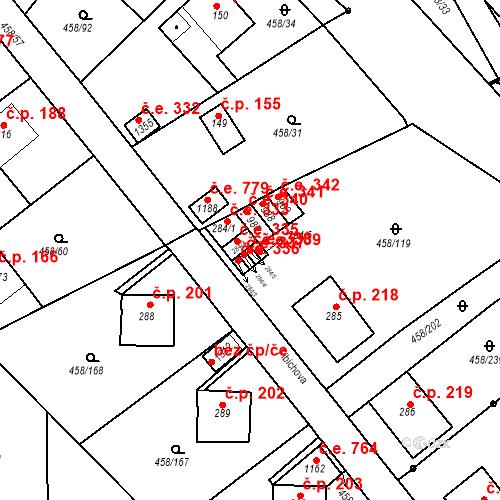 Katastrální mapa Stavební objekt Adamov 338, Adamov