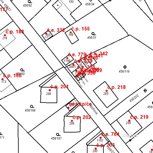 Katastrální mapa Stavební objekt Adamov 336, Adamov