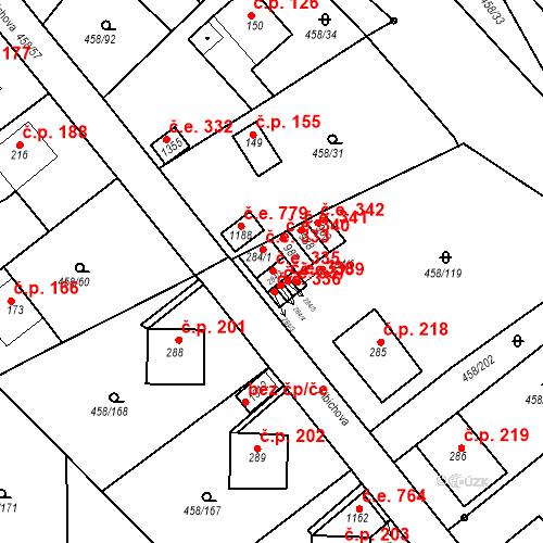 Katastrální mapa Stavební objekt Adamov 335, Adamov