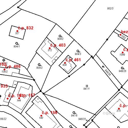Katastrální mapa Stavební objekt Bílovice nad Svitavou 461, Bílovice nad Svitavou