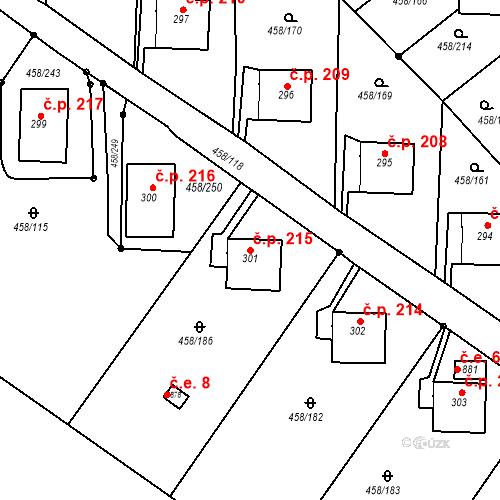 Katastrální mapa Stavební objekt Adamov 215, Adamov