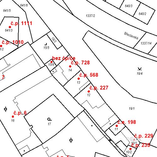 Katastrální mapa Stavební objekt Valtice 568, Valtice