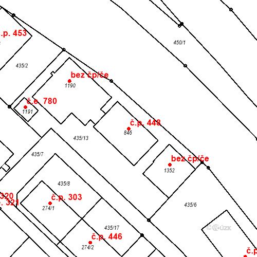Katastrální mapa Stavební objekt Adamov 448, Adamov