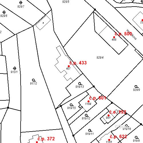 Katastrální mapa Stavební objekt Bílovice nad Svitavou 433, Bílovice nad Svitavou