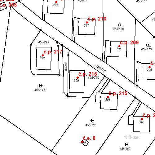 Katastrální mapa Stavební objekt Adamov 216, Adamov