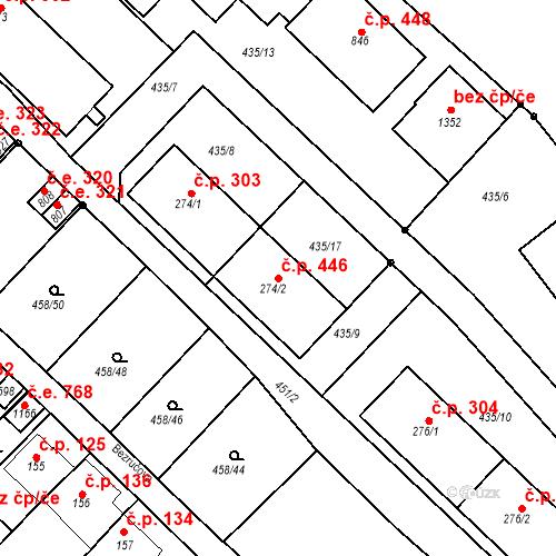 Katastrální mapa Stavební objekt Adamov 446, Adamov