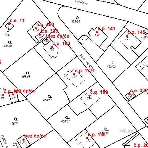 Katastrální mapa Stavební objekt Adamov 177, Adamov