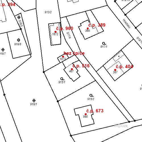Katastrální mapa Stavební objekt Bílovice nad Svitavou 516, Bílovice nad Svitavou