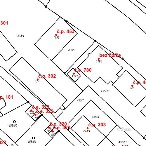Katastrální mapa Stavební objekt Adamov 780, Adamov