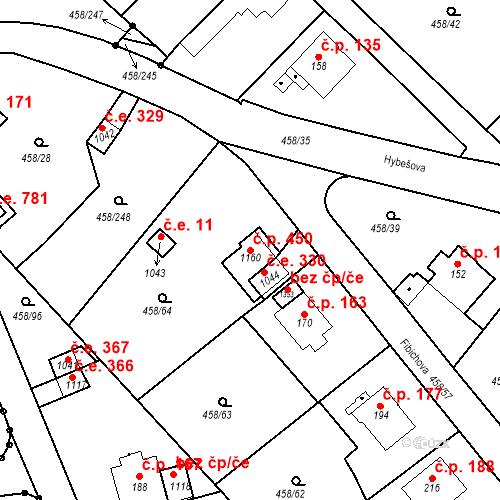 Katastrální mapa Stavební objekt Adamov 450, Adamov