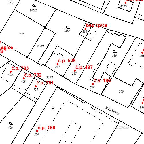 Katastrální mapa Stavební objekt Valtice 497, Valtice