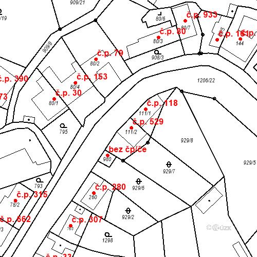 Katastrální mapa Stavební objekt Bílovice nad Svitavou 529, Bílovice nad Svitavou