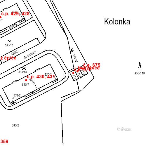 Katastrální mapa Stavební objekt Adamov 677, Adamov