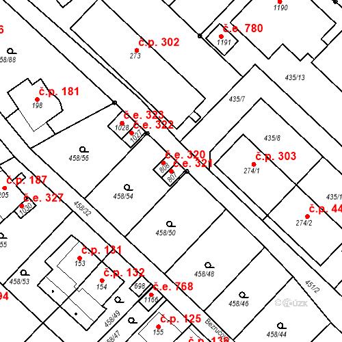 Katastrální mapa Stavební objekt Adamov 321, Adamov