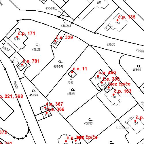 Katastrální mapa Stavební objekt Adamov 11, Adamov