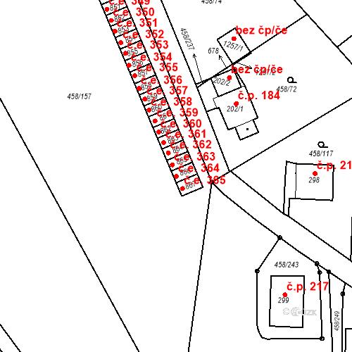 Katastrální mapa Stavební objekt Adamov 364, Adamov