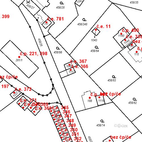Katastrální mapa Stavební objekt Adamov 366, Adamov