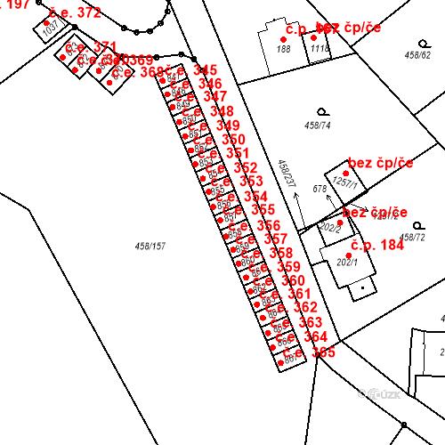 Katastrální mapa Stavební objekt Adamov 355, Adamov