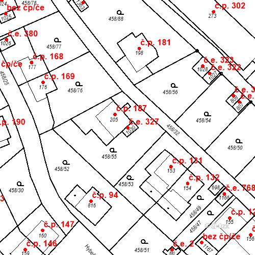 Katastrální mapa Stavební objekt Adamov 327, Adamov