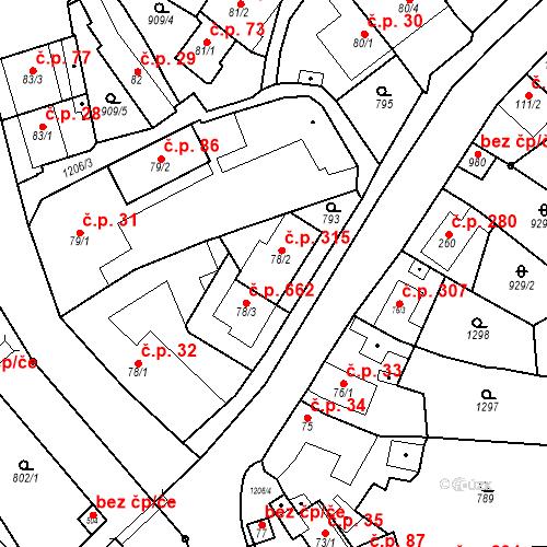 Katastrální mapa Stavební objekt Bílovice nad Svitavou 315, Bílovice nad Svitavou