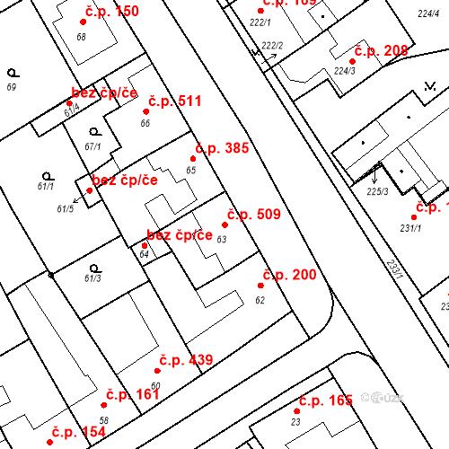 Katastrální mapa Stavební objekt Valtice 509, Valtice