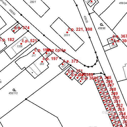 Katastrální mapa Stavební objekt Adamov 372, Adamov
